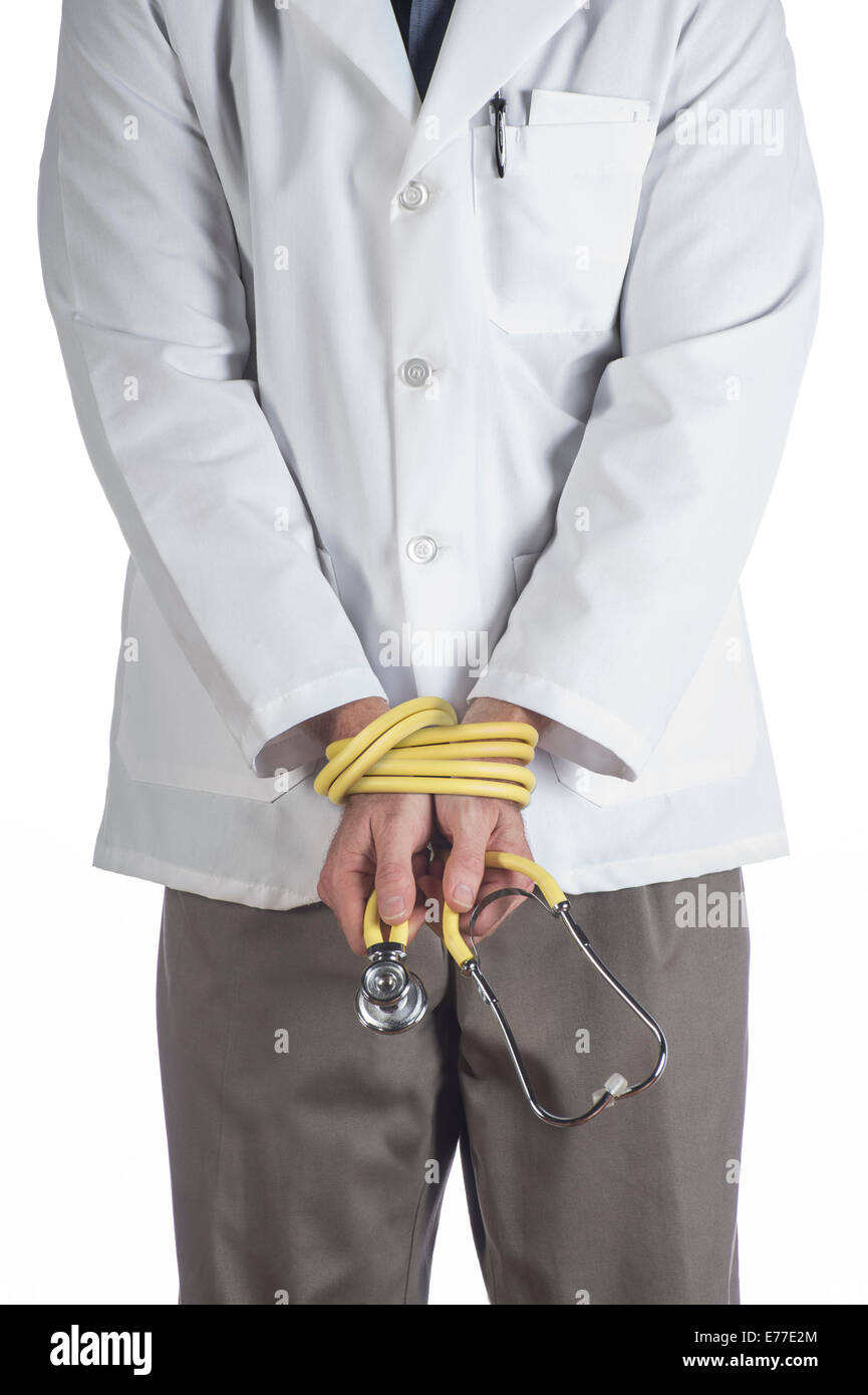 Doctor With Hands Tied - Stock Image