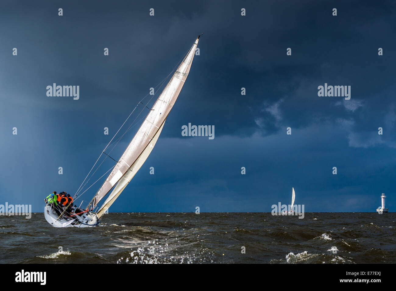 Sailing in a gale - Stock Image
