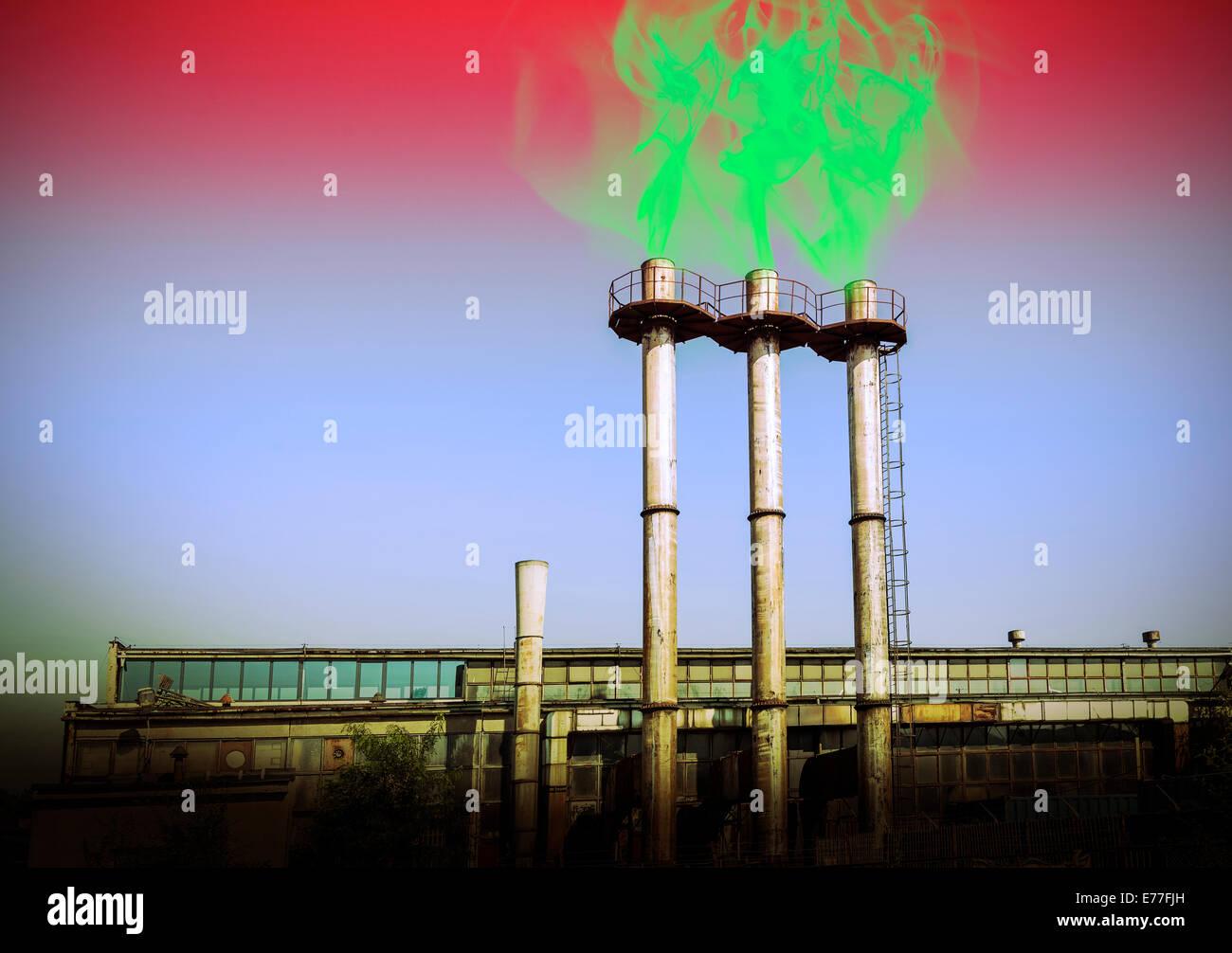 Smoking chimneys, environmental destruction toxic concept. - Stock Image
