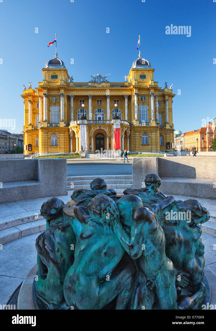 Zagreb town - Theatre HNK, Sculpture, Ivan Mestrovic's Sculpture Fountain of Life - Stock Image