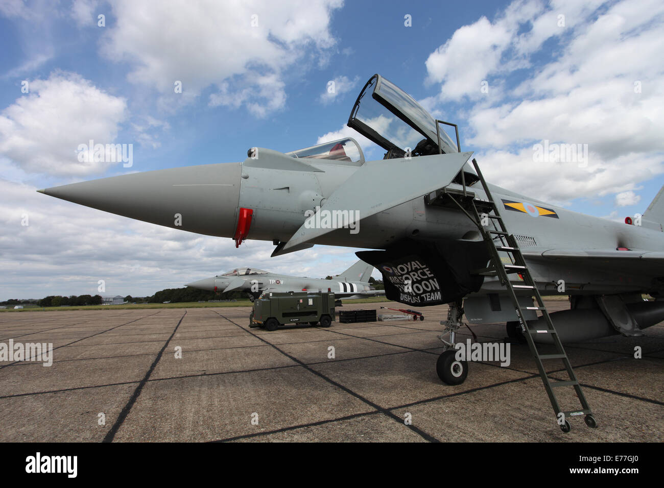Two Eurofighters parked on the tarmac at Bigging Hill airport Stock Photo