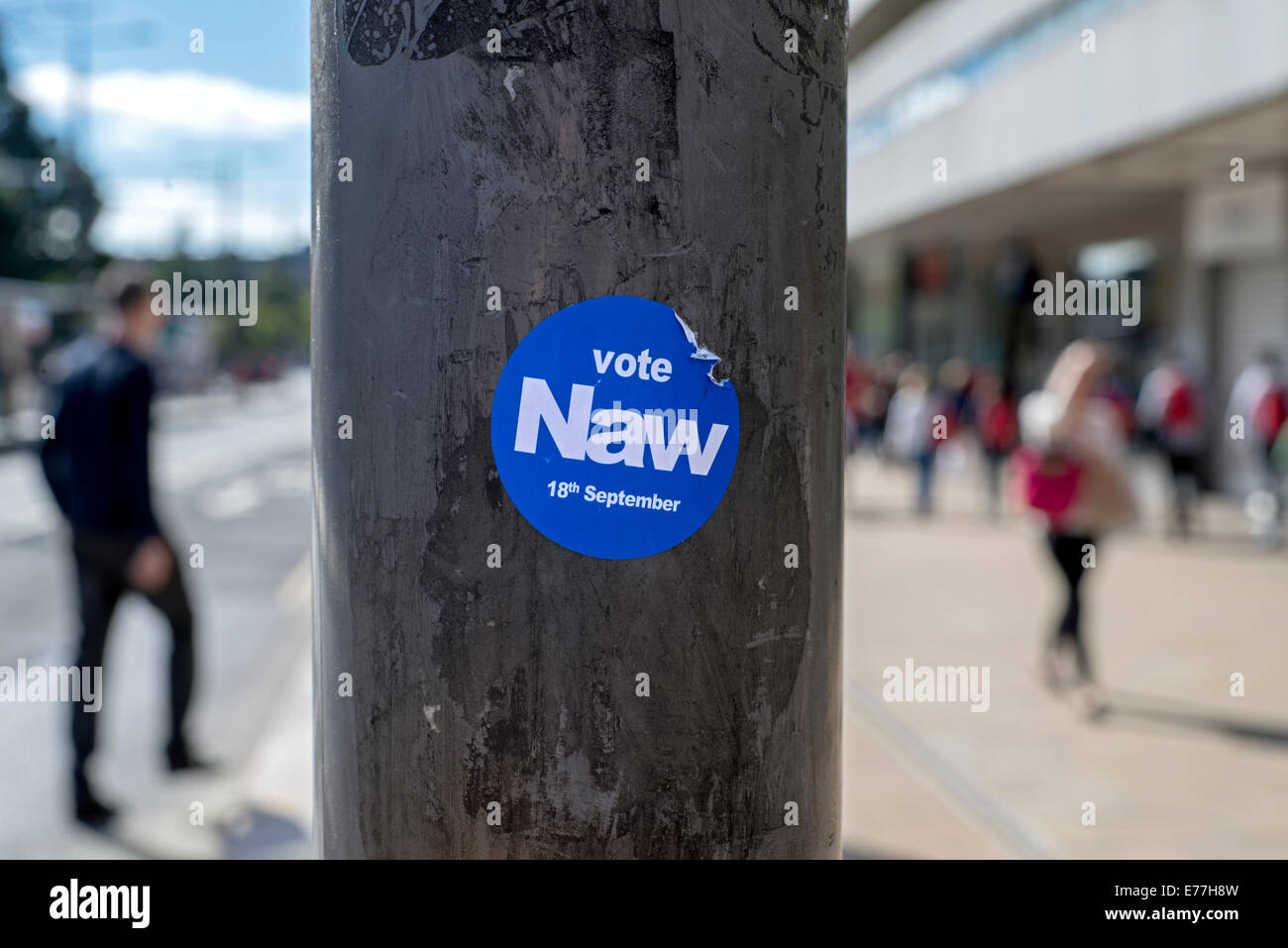 Naw sticker on a post in Princes Street Edinburgh as part of the No campaign in the upcoming referendum on Scottish - Stock Image