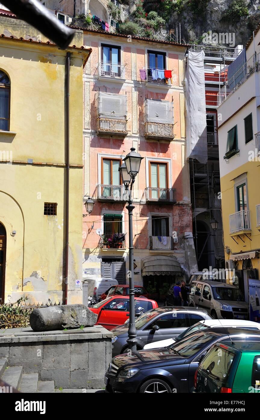 Old Apartment Buildings In A Small Side Road Off The Corso Della  Repubbliche Marinare, Amalfi