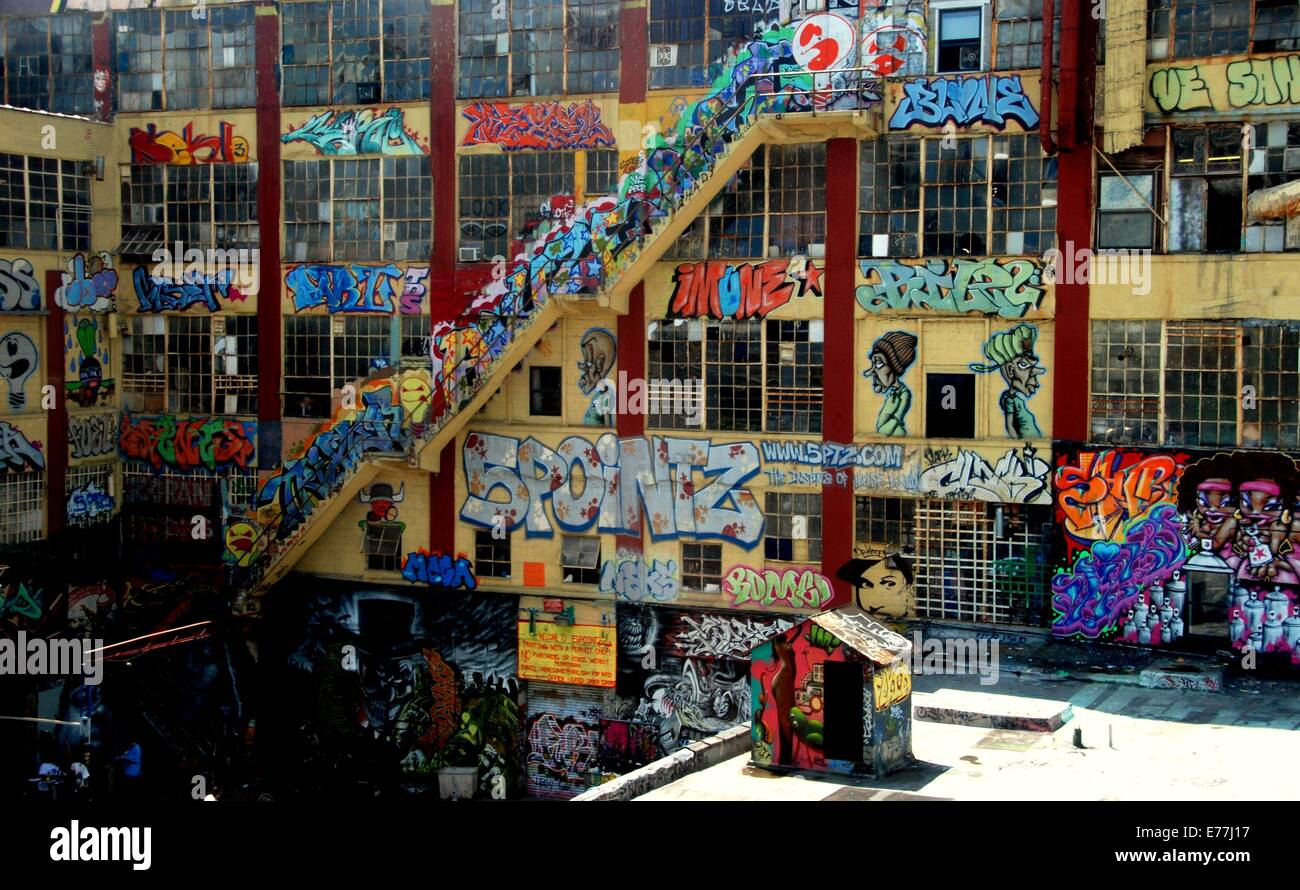 Queens new york a factory building covered with colourful pop art graffiti