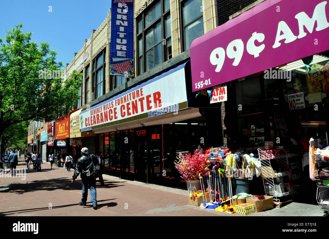 NYC 99 Cent Store And Other Bargain Businesses Line Busy Jamaica Avenue The Main