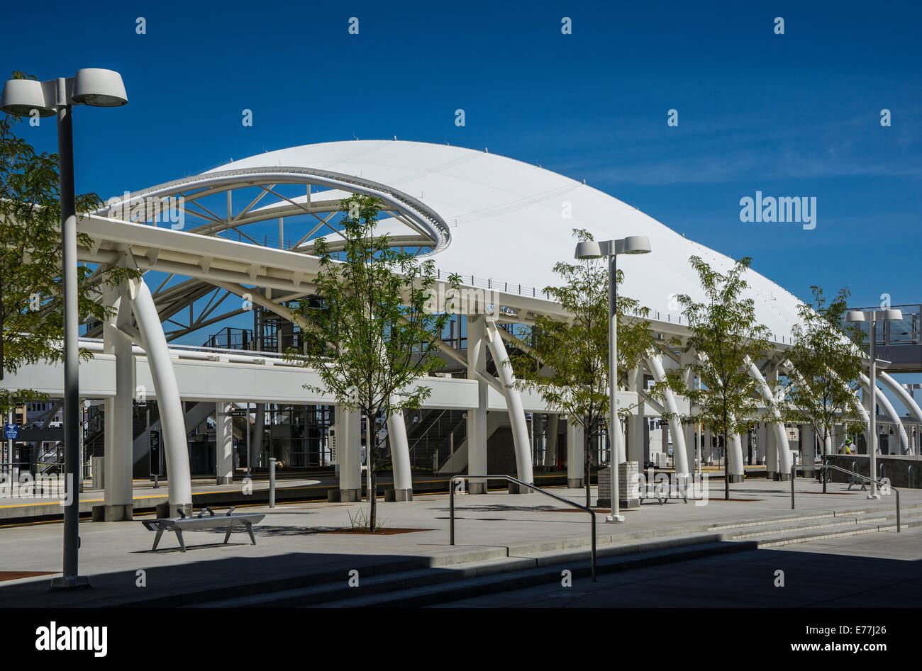 Denver Union Railroad Station white protective canopy Stock Photo