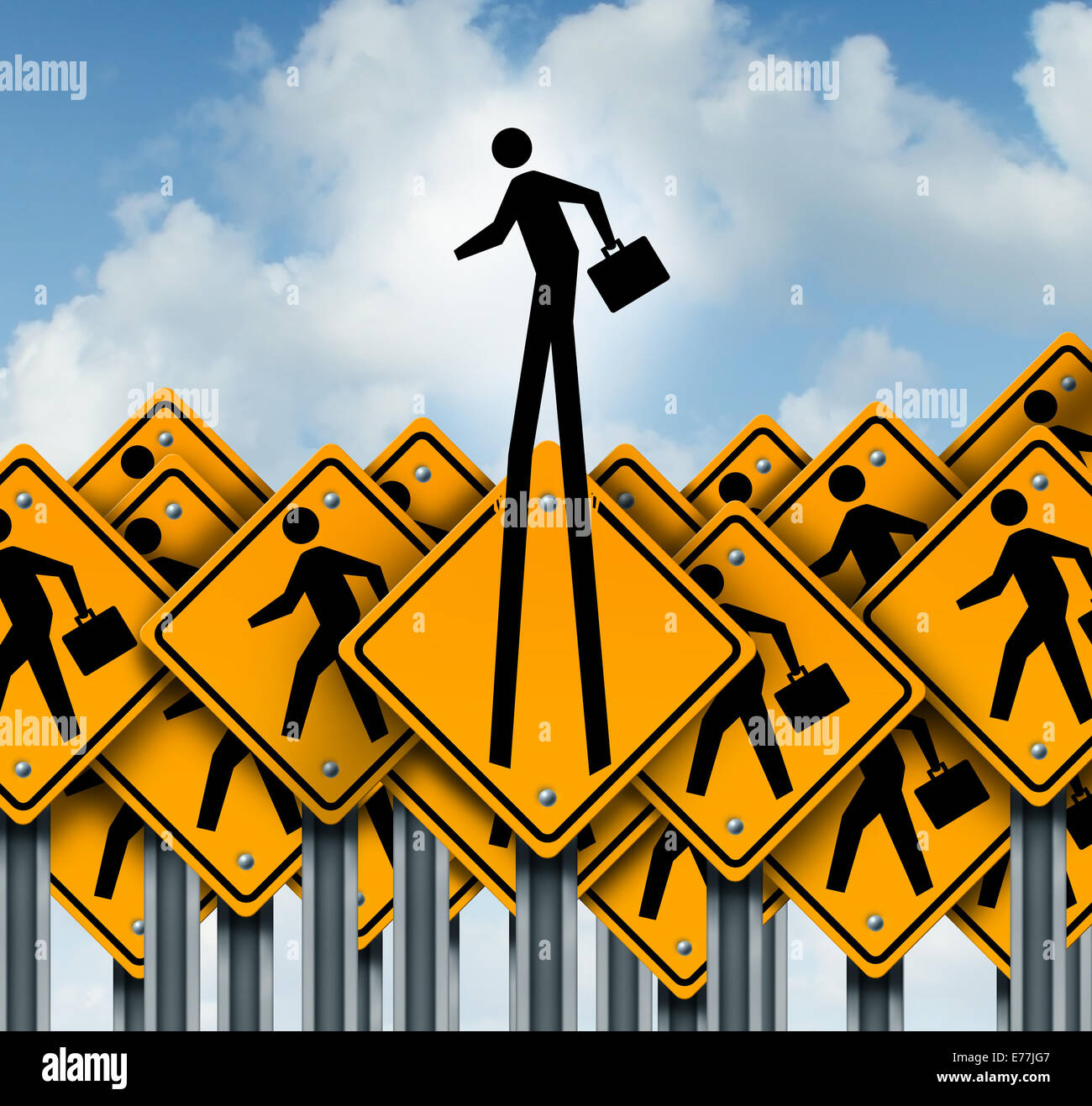 Career success and climb to the top concept as a group of worker crossing traffic signs with one businessman icon - Stock Image