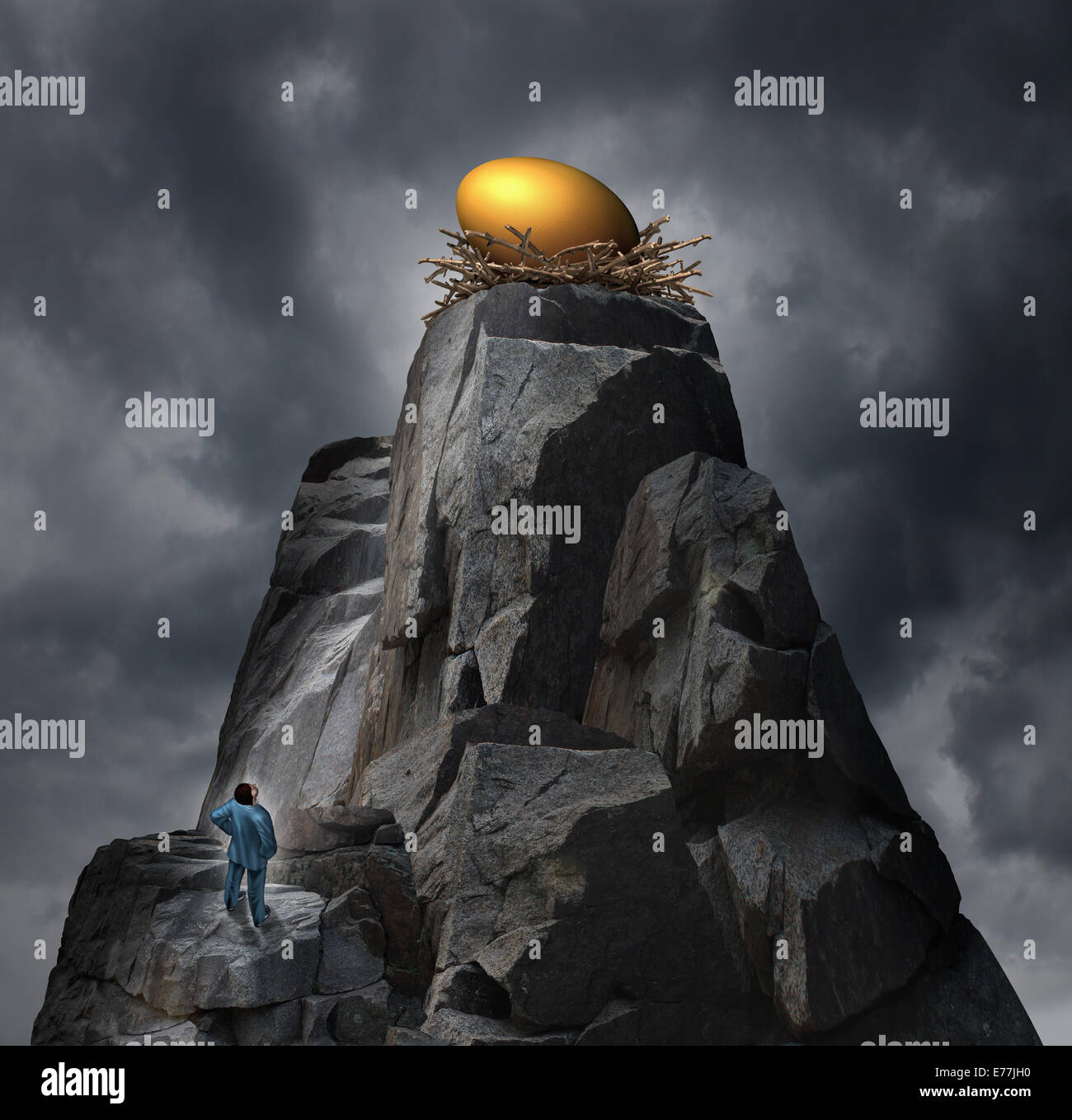 Golden nest egg concept as a retirement plan metaphor with a man standing at the bottom of a rock cliff thinking - Stock Image