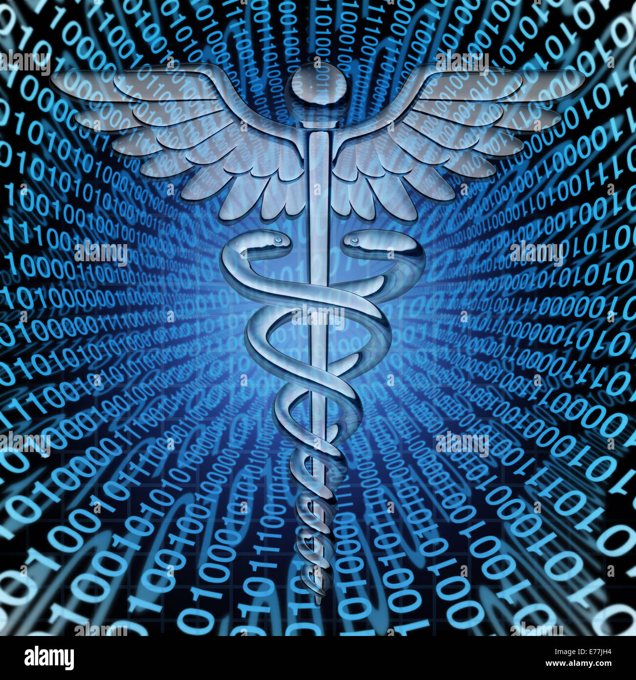 Medical data and the future of health care databases technology concept as a caduceus medicine symbol on a background - Stock Image
