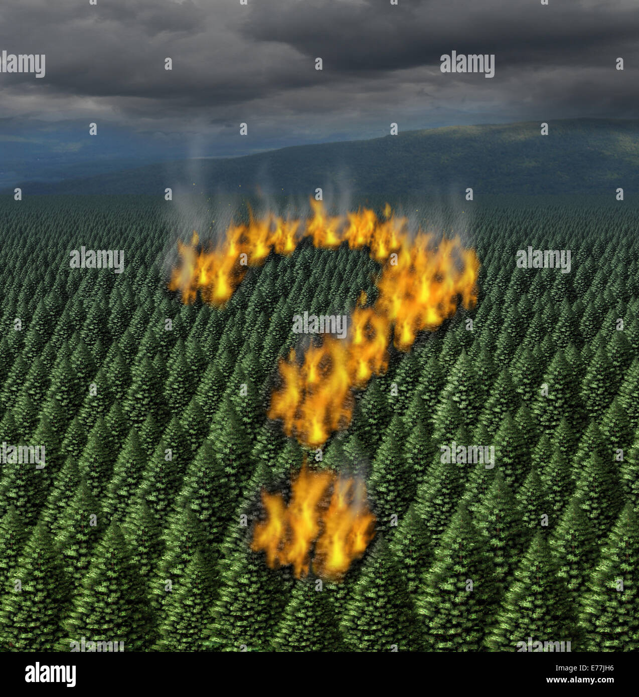 Forest fire concept as a raging wildfire burning through a forest of pine trees shaped as a question mark as a symbol - Stock Image
