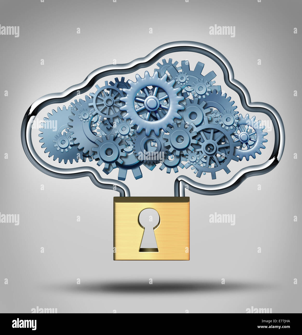 Cloud security concept and internet data protection symbol as a three dimensional lock providing protection to a - Stock Image