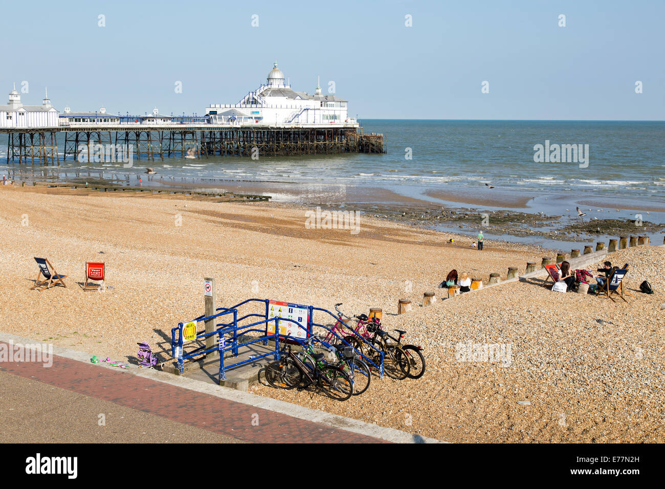 Beach and Pier Eastbourne Seafront UK - Stock Image