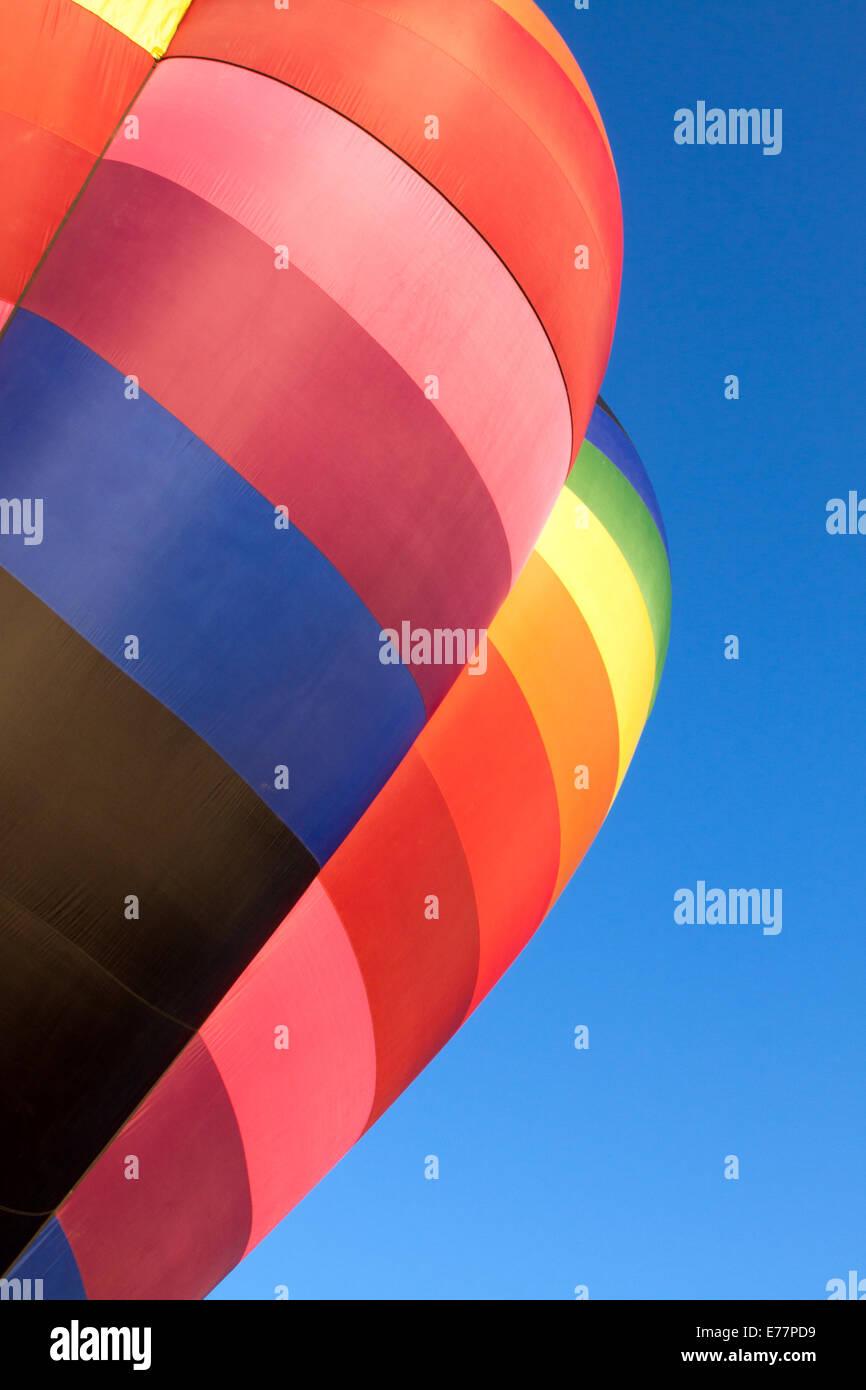 Rainbow-colored hot air balloon detail Stock Photo