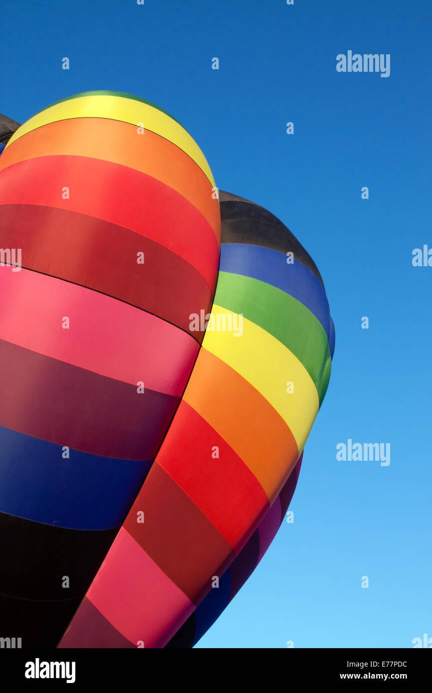 Hot air balloon in rainbow colors Stock Photo