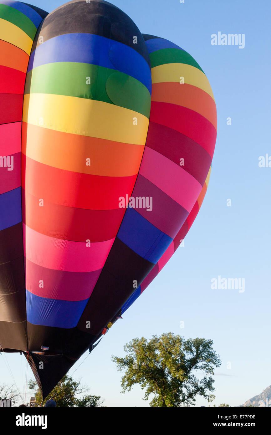 Prepping a hot-air balloon for flight Stock Photo