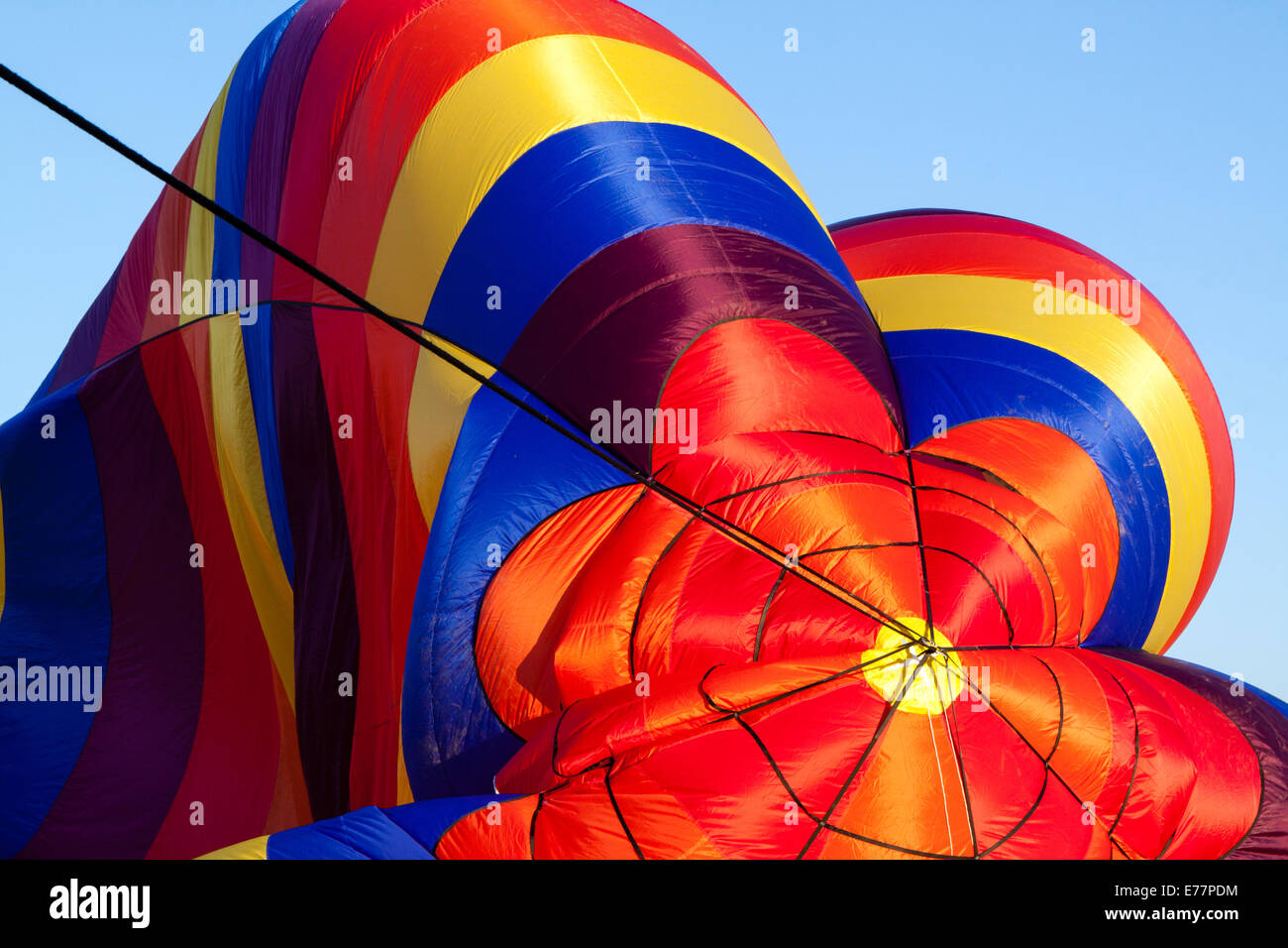 Top of canopy of a partially inflated hot air balloon Stock Photo