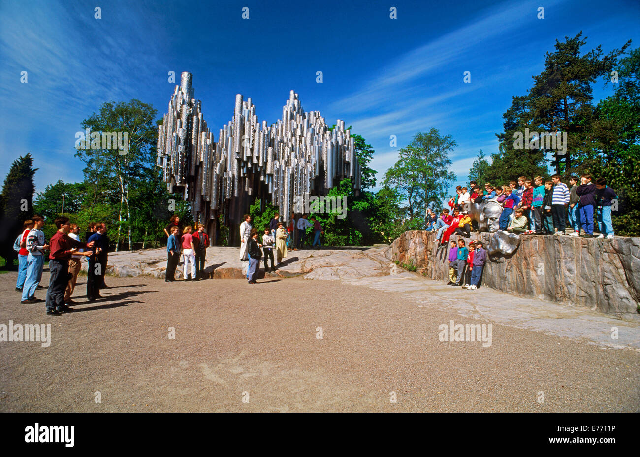 School children and visitors at Sibelius Monument in Helsinki Finland - Stock Image