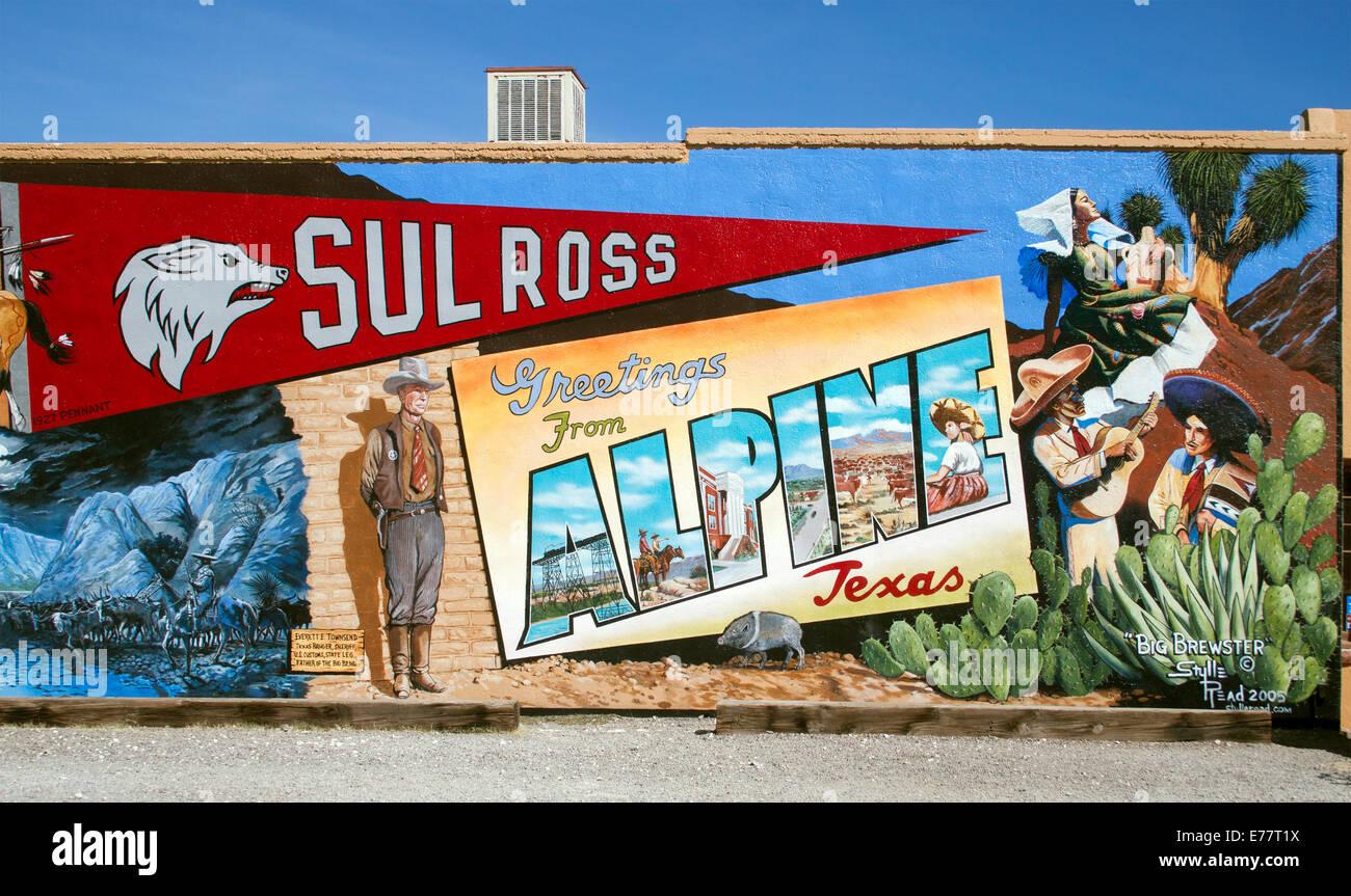 Wild West mural in Alpine Texas - Stock Image