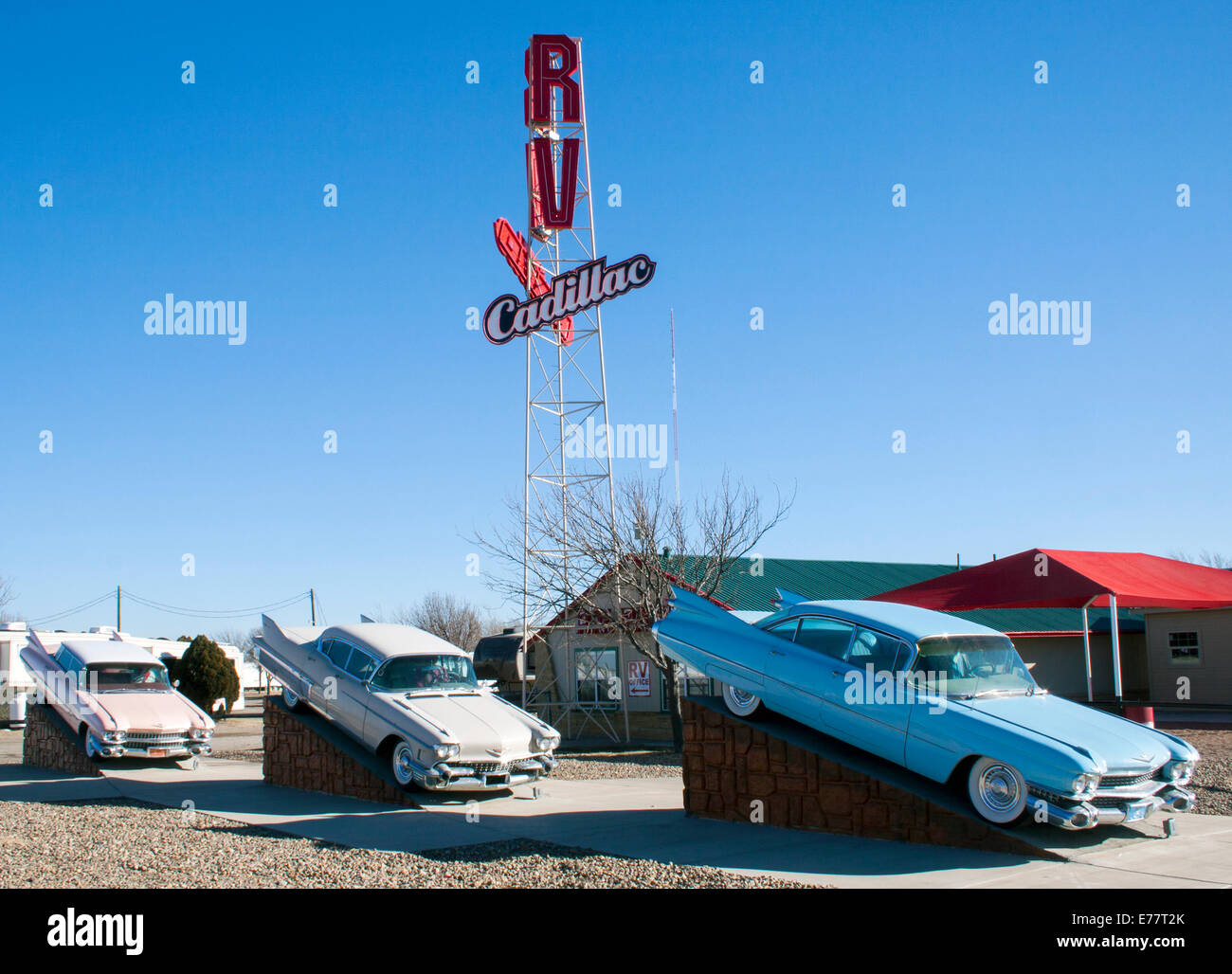 RV Cadillac Ranch on Route 66 in Amarillo Texas Stock Photo