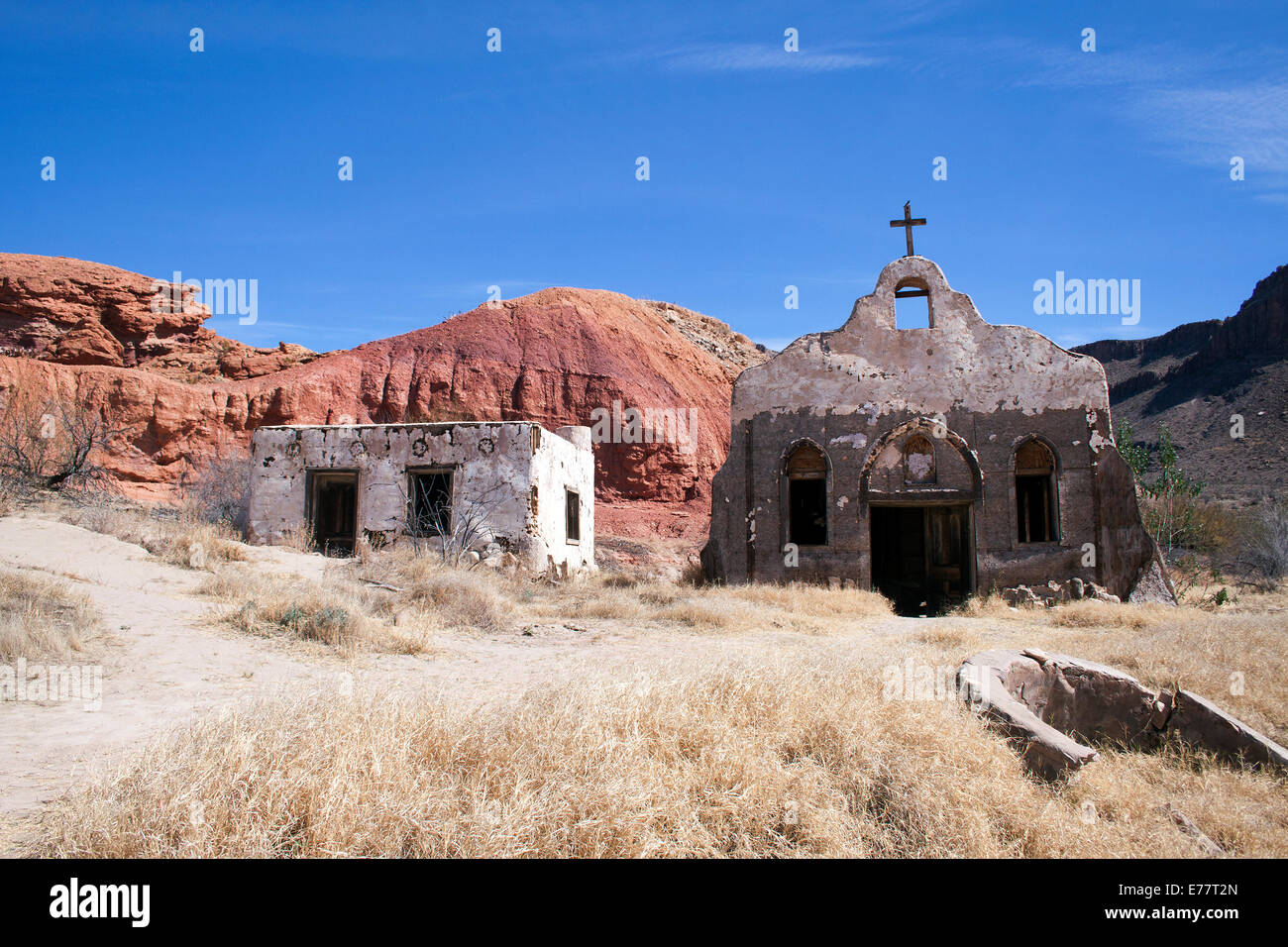 Old movie set for the western film Streets of Laredo in Big Bend National Park Texas - Stock Image