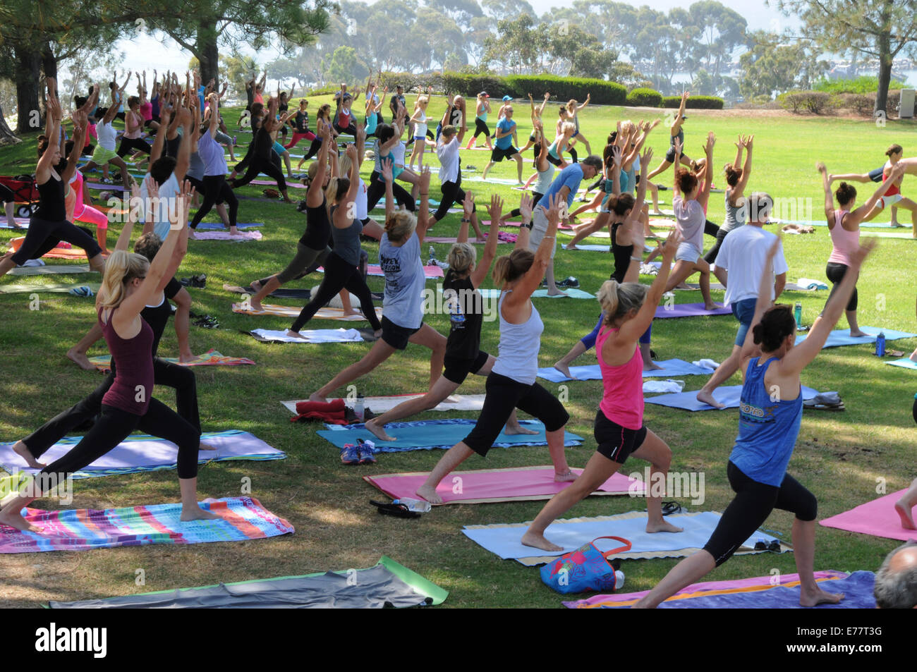 Daily free outdoor exercise and yoga classes at Lantern Bay Park in Dana Point, California - Stock Image
