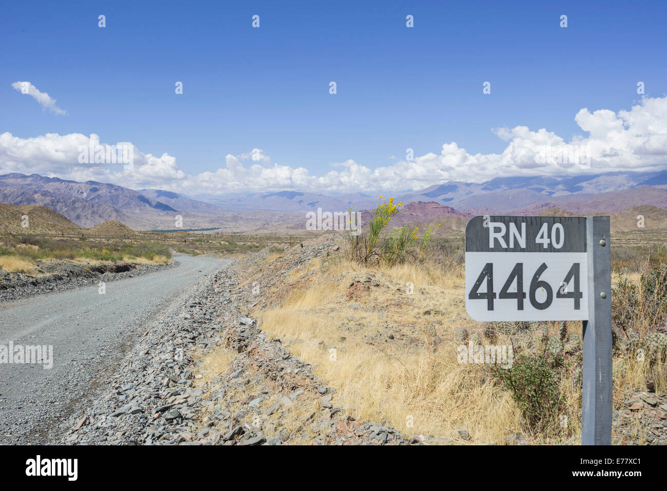 Sign with the road name on the Ruta Nacional 40, Ruta 40 or RN40 with kilometer marker, near Salta, Argentina - Stock Image