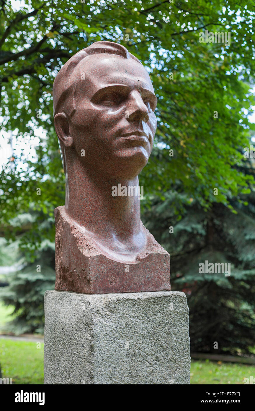 Bust of 'Gagarin', Yuri Gagarin, the first cosmonaut in space, by N. Bondarenko, 1975, in the Sculpture - Stock Image