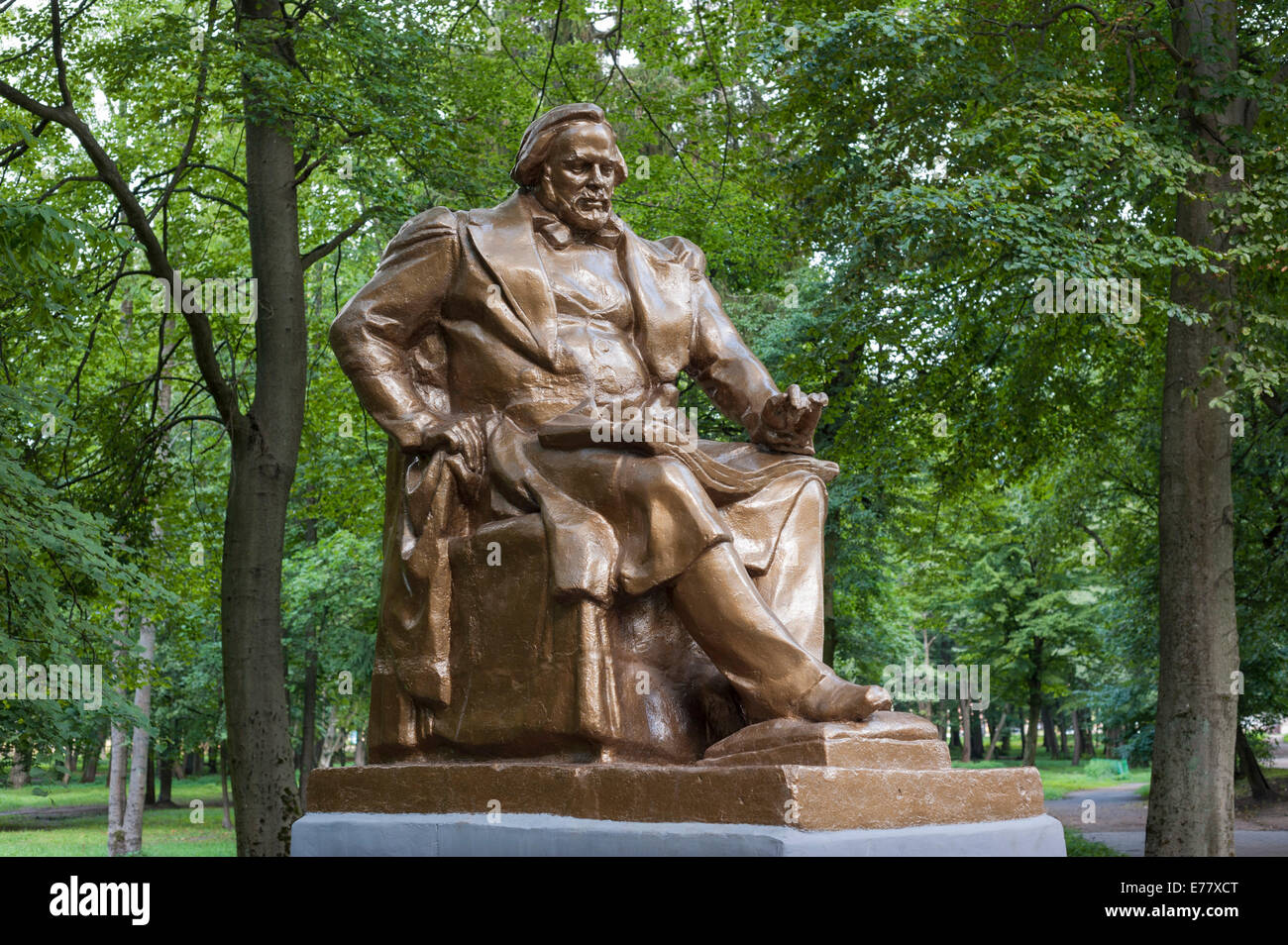 Monument to Mikhail Ivanovich Glinka, Russian composer, bronze on a stone pedestal in Jakobsruh Park, new park design - Stock Image