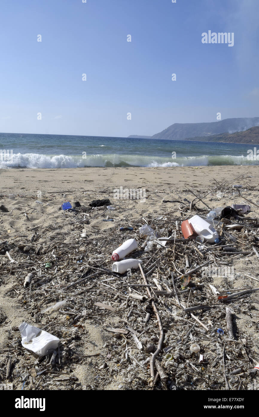 waste in beach - Stock Image