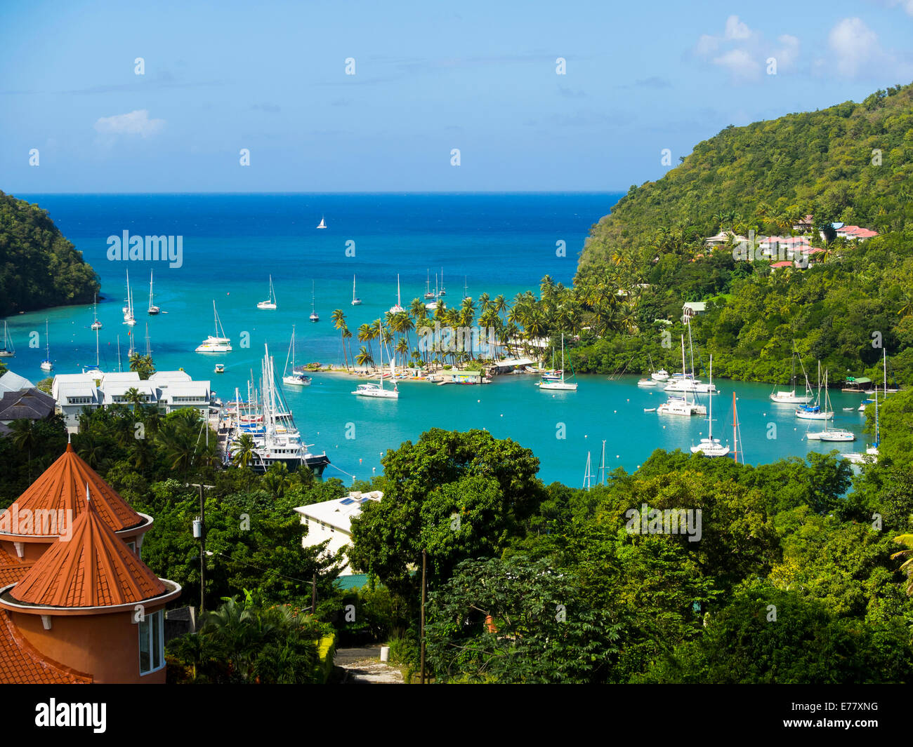 View of Marigot Bay with yachts, Castries, St. Lucia island, Lesser Antilles, Windward Islands, St. Lucia - Stock Image