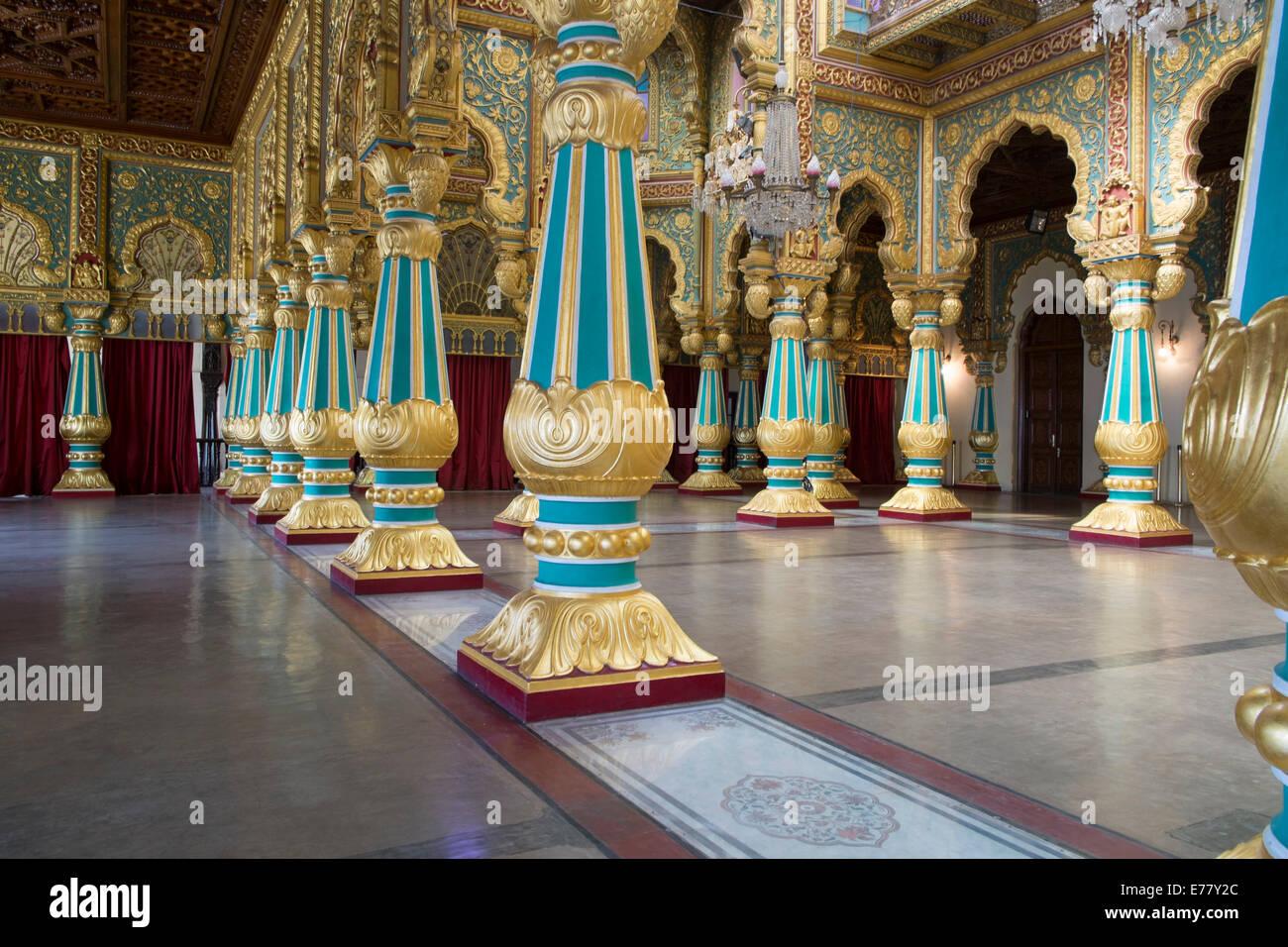 Columned Hall In The Mysore Palace, Mysore, Karnataka, India   Stock Image