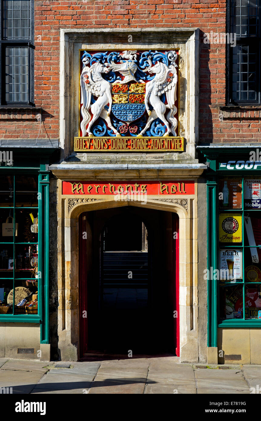 Entrance - on Fossgate - to the Merchants Hall, with elaborate coat of arms, York, North Yorkshire, England UK - Stock Image
