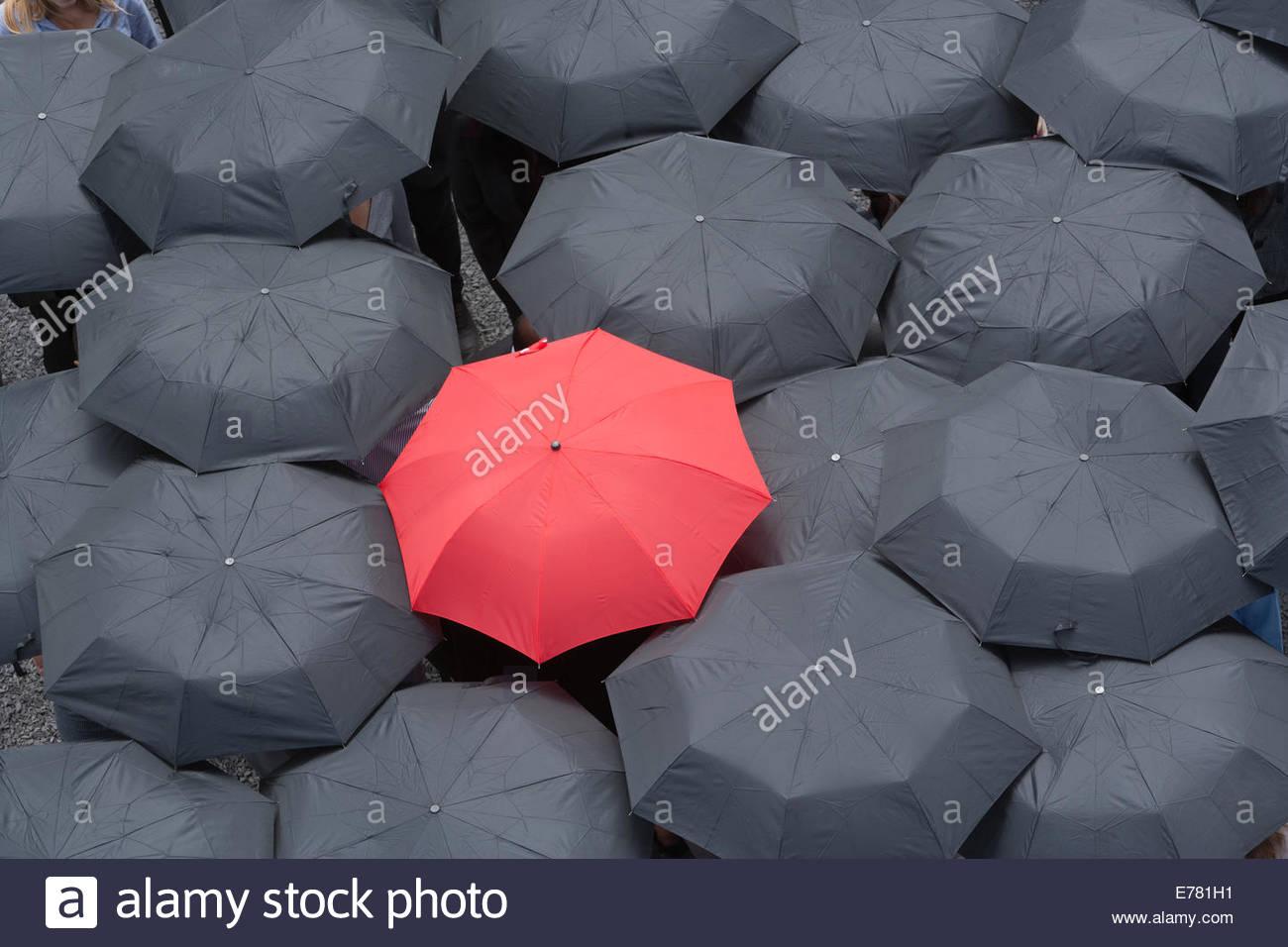 One red umbrella at center of multiple black umbrellas - Stock Image