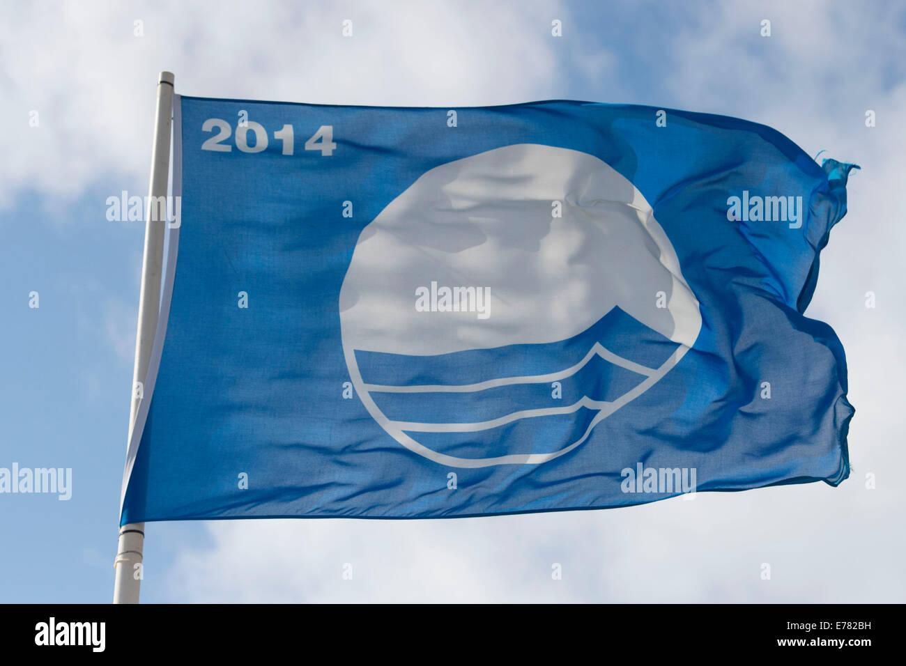 Blue Flag Award Beach flag 2014. - Stock Image