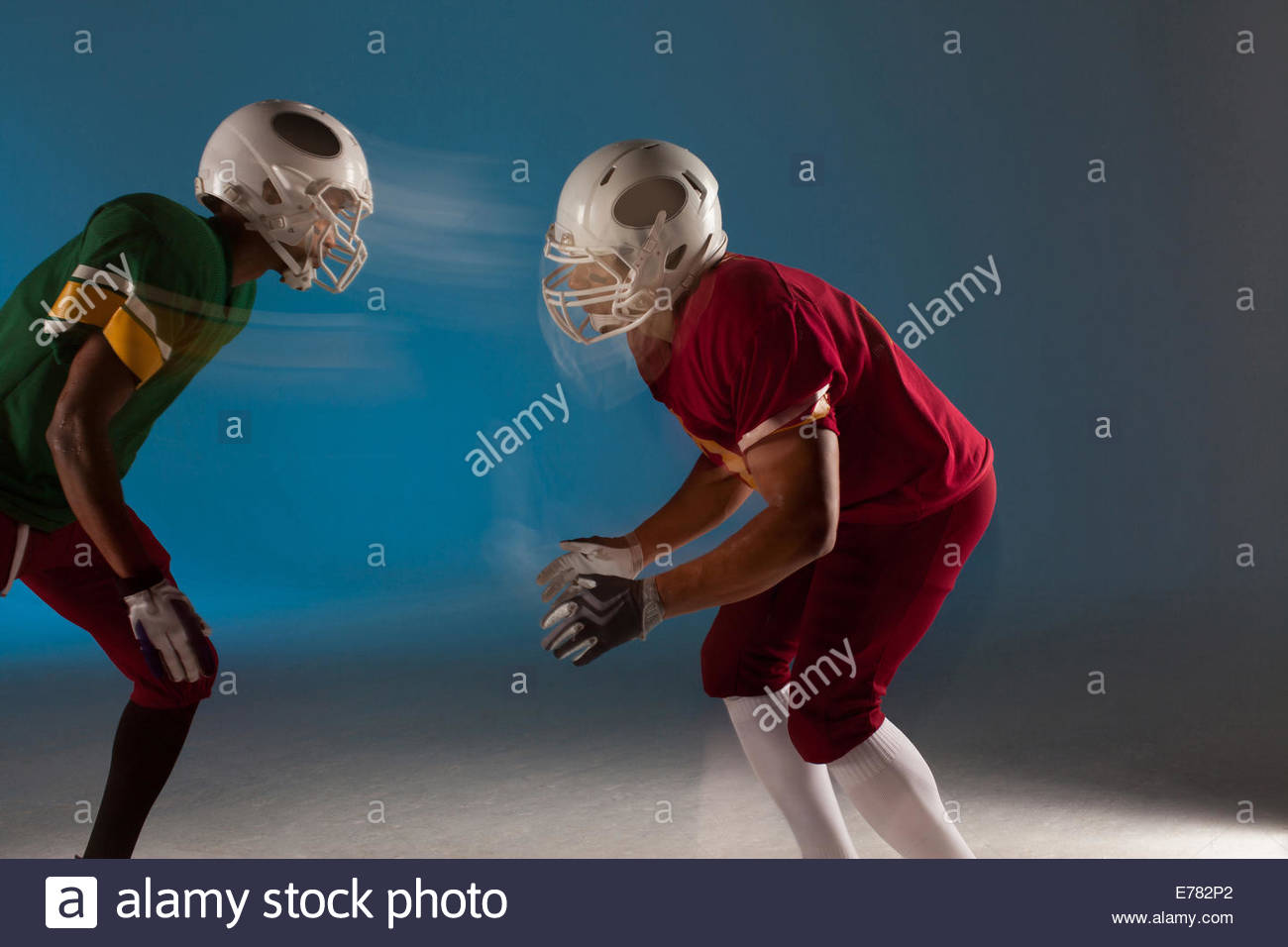 Blurred view of football players facing each other Stock Photo