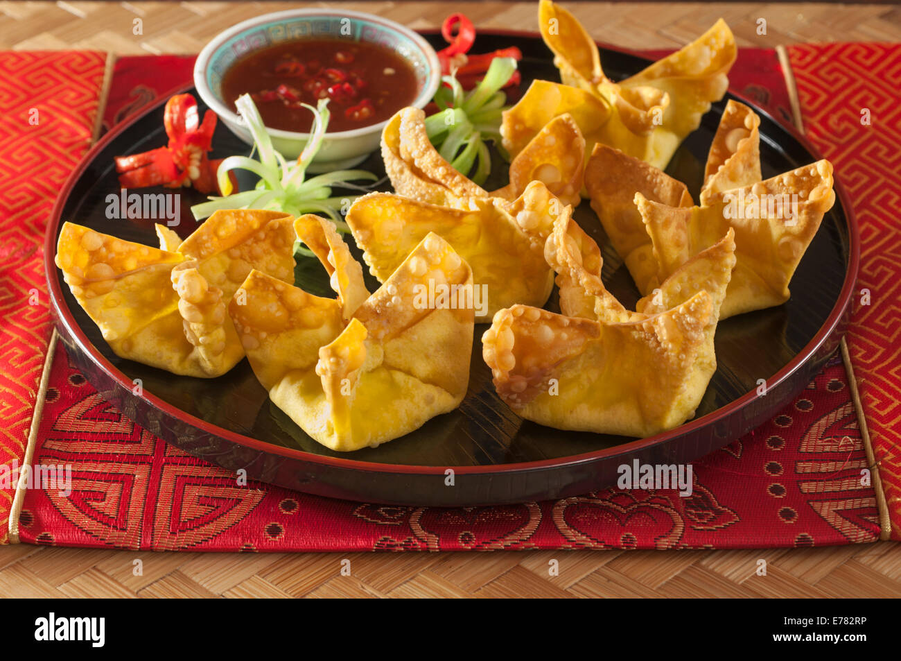 Crab Rangoon. American Chinese deep fried starter. - Stock Image