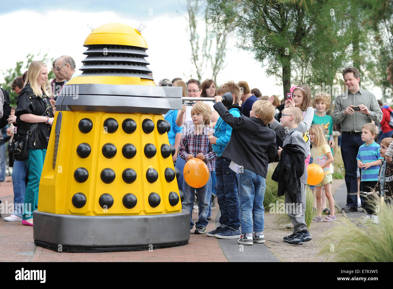 Doctor Who fans at the Doctor Who Experience at Cardiff Bay, South Wales. - Stock Image