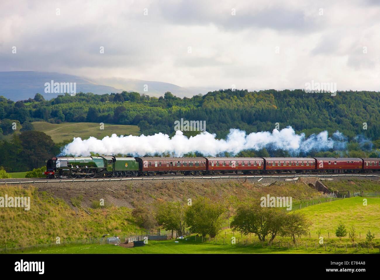 Steam locomotive LMS Princess Coronation Class 46233 'Duchess of Sutherland' near Lazonby Eden Valley, Cumbria, - Stock Image