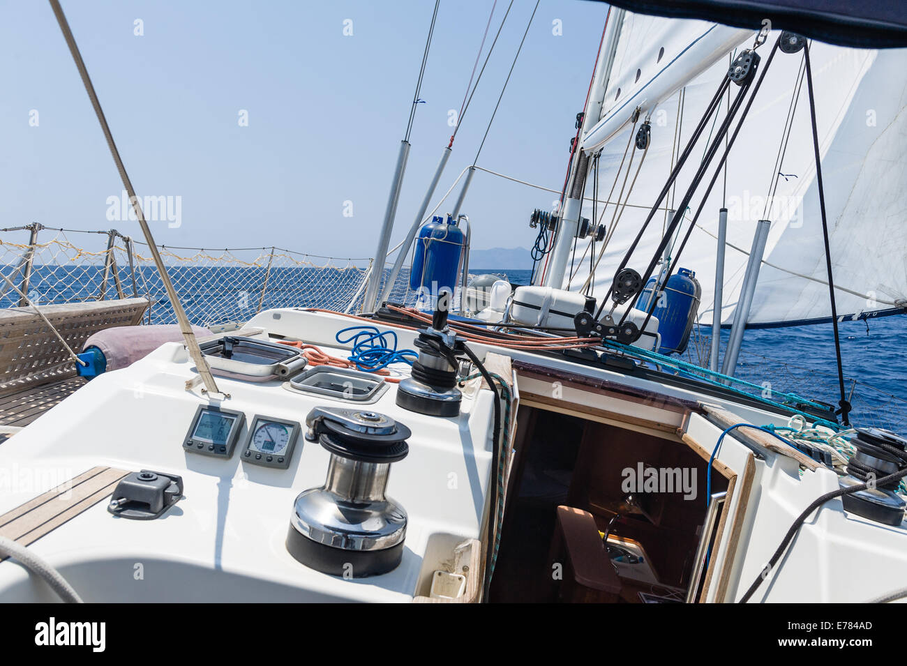 Sailing yacht going fast on full sails - Stock Image