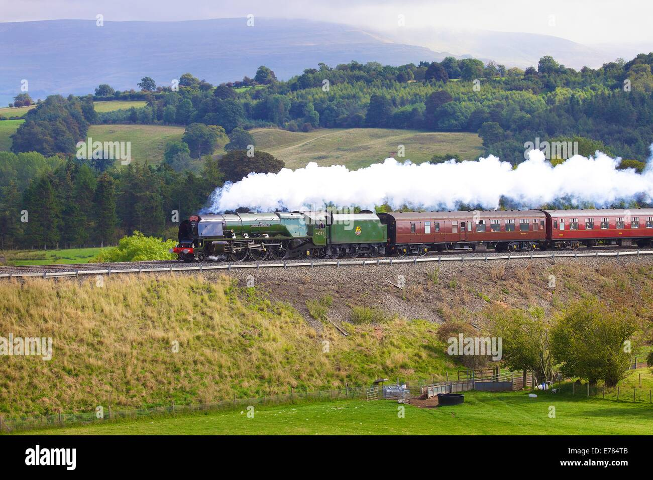 Steam locomotive LMS Princess Coronation Class 46233 'Duchess of Sutherland' near Lazonby Eden Valley, Cumbria, - Stock Image