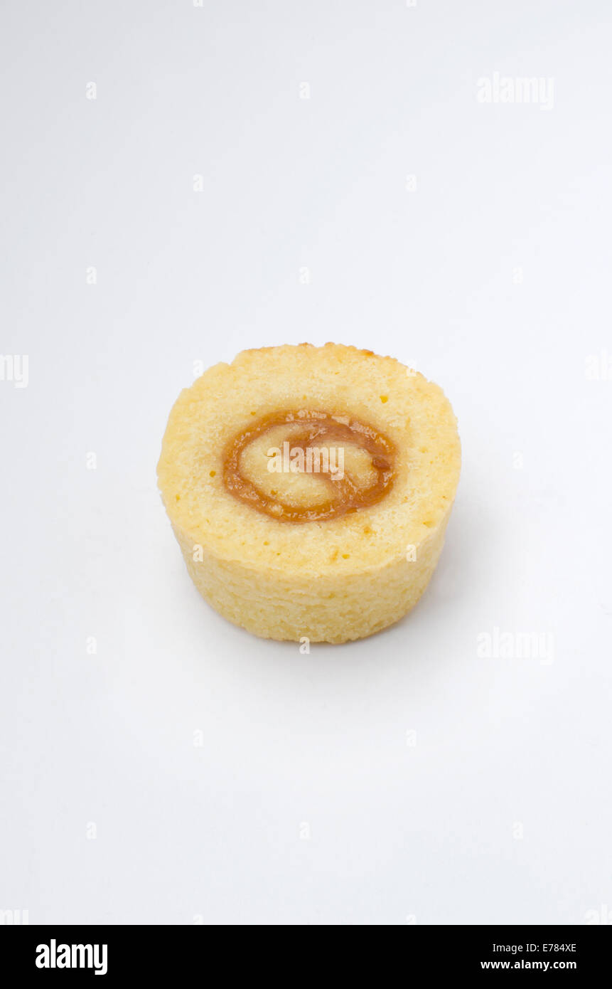 Mini almond lemon cake on white background Stock Photo