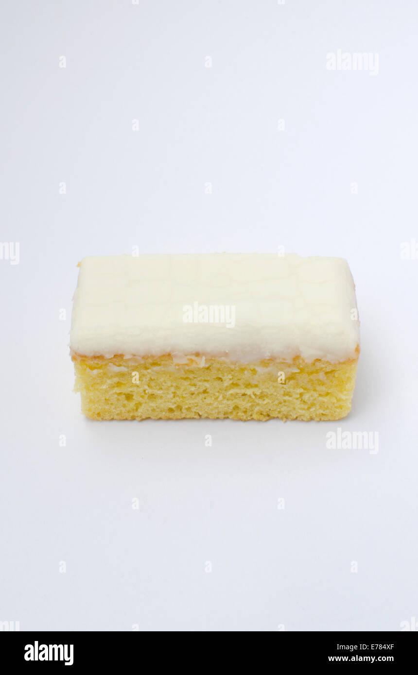 Lemon slice cake on white background - Stock Image