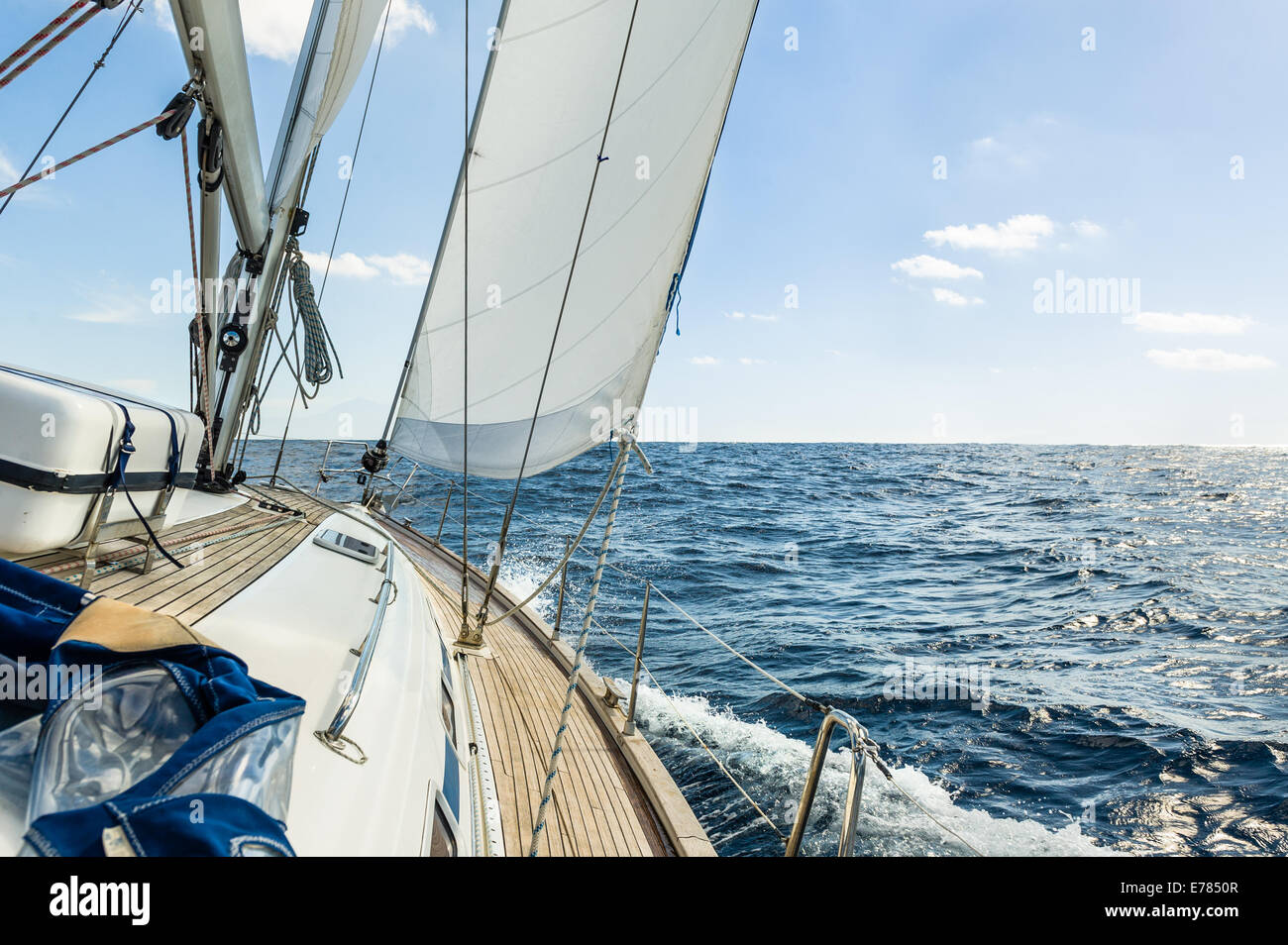 Yacht sail in the Atlantic ocean at sunny day cruise - Stock Image