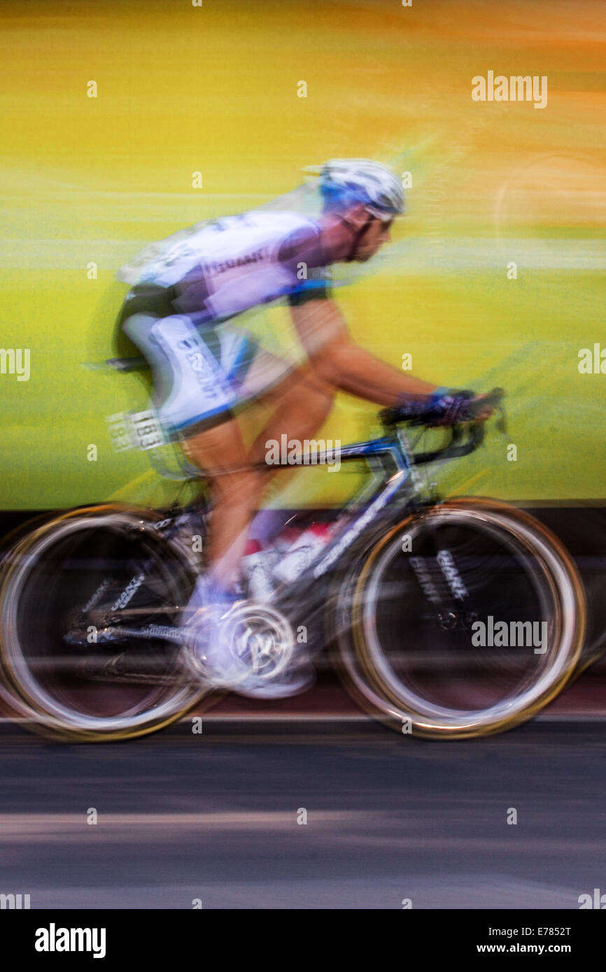 Road bikes, carbon fibre bicycle frames, monocoque, composite bike frame used by cyclists racing in Liverpool, Merseyside, - Stock Image