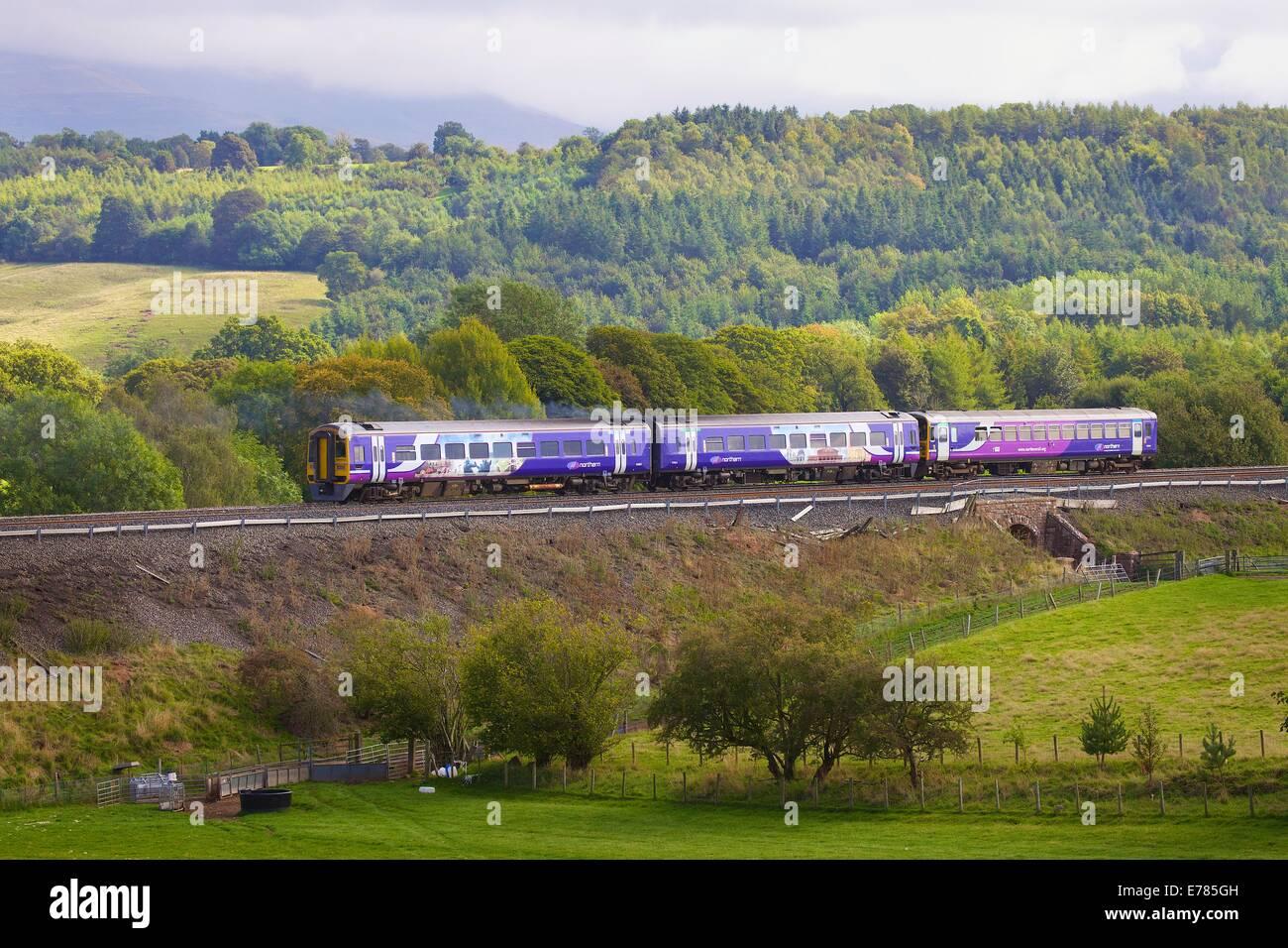 Northern Rail Sprinter train near Lazonby Eden Valley, Cumbria, England, UK. - Stock Image