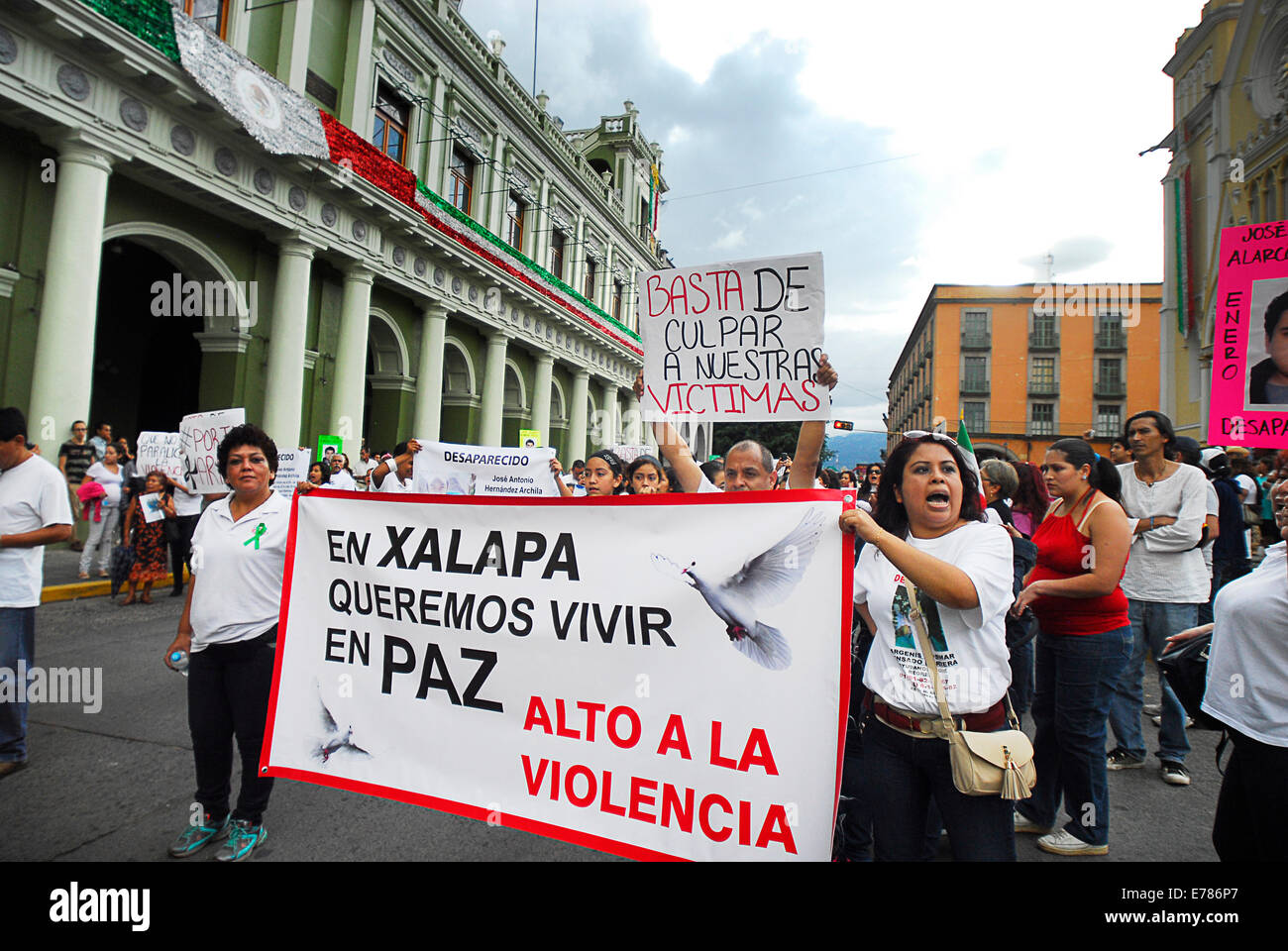 About 500 people, comprised of the families and friends of missing people in Veracruz, stage march rally from Benemérita - Stock Image