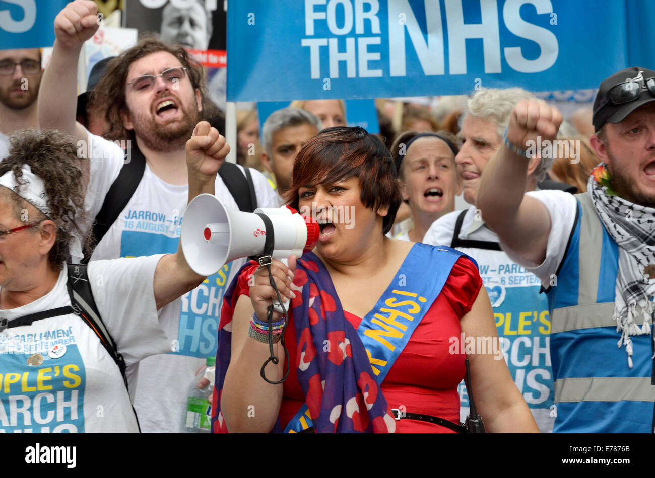 Rehana Azam at the head of the People's March for the NHS in London, 6th September, 2014 (Sadiq Khan behind) - Stock Image