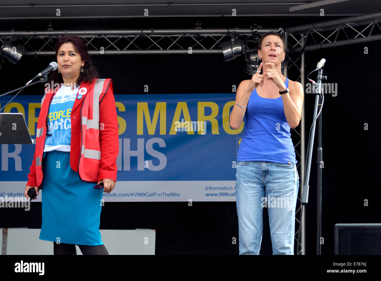 Sign Language interpreter at a political rally in Trafalgar Square - Stock Image