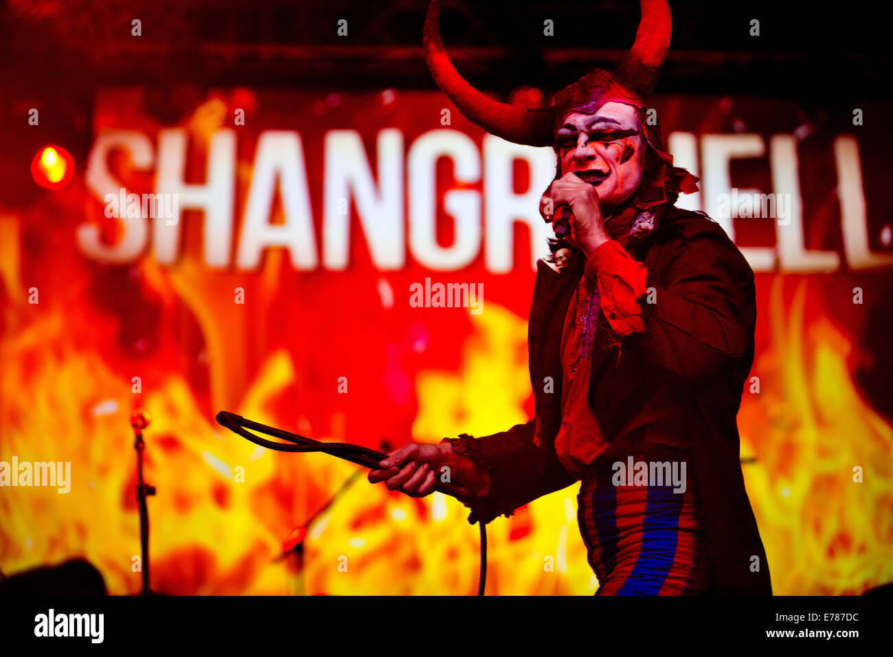 Glastonbury Festival 2014. The devil enters the Hell stage in Shangri-La - Stock Image