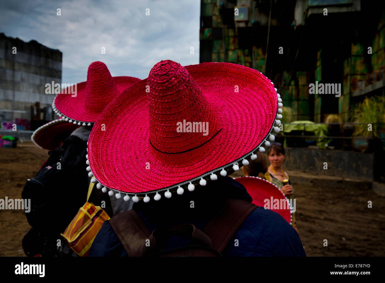 Ravers in Block 9, with sombreros Glastonbury Festival 2014 - Stock Image